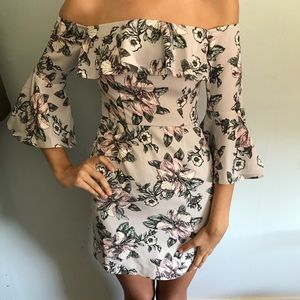 ASOS Petite Flower Off The Shoulder Dress